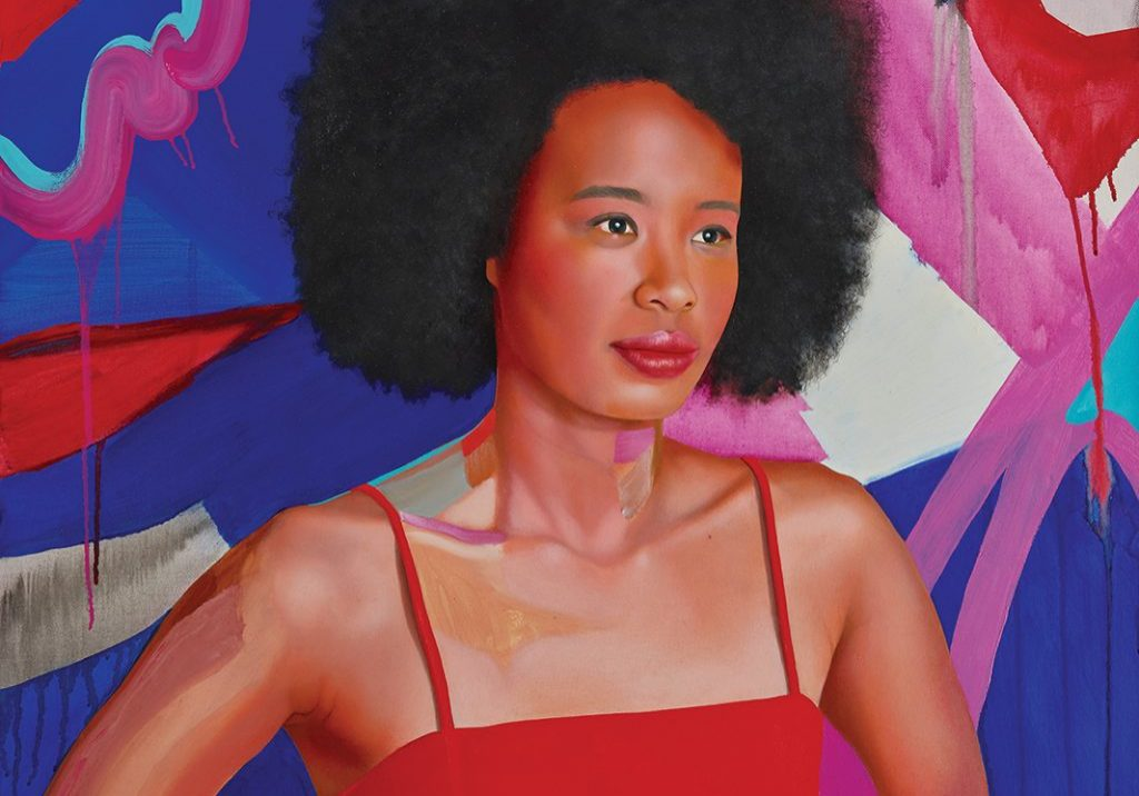 Archibald Prize 2019 finalist Kim Leutwyler     'Faustina'     oil and acrylic on canvas     76 x 76.5 cm     © the artist Photo: AGNSW, Mim Stirling Sitter: Faustina Agolley - actor, broadcaster, TV producer, music journalist, writer and DJ     ***EMBARGOED TILL 12 NOON ON 2nd MAY 2019. The 2019 Archibald Prize competition, on display 11 May – 8 Sep 2018, at the Art Gallery of New South Wales. This image may not be cropped or overwritten. Prior approval in writing required for use as a cover. Caption details must accompany reproduction of the image. Media contact: James.Ricupito@ag.nsw.gov.au